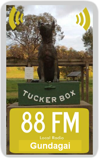 TuckerboxFM com Gundagai FM local Radio plays a cross